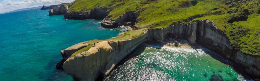 Tunnel-Beach-Dunedin-NZ-aerial